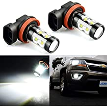 JDM ASTAR Extremely Bright Max 50W High Power H11 LED Fog Light Bulbs for DRL or Fog Lights, Xenon White