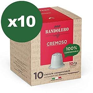 BANDOLERO 100 capsule compostabili Nespresso, caffè Cremoso, cialde compatibili Nespresso, Made in Italy, capsule…