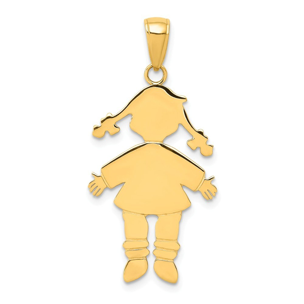 32mm x 17mm Solid 14k Yellow Gold Girl Charm Pendant