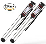 Kitchen & Housewares : Lemontec CP1 Meat Thermometer Digital Cooking Thermometer [5.9 Inch Long Probe] with Instant Read, LCD Screen, Anti-Corrosion, Best for Kitchen, Grill, BBQ, Milk, and Bath Water, 2 Pack