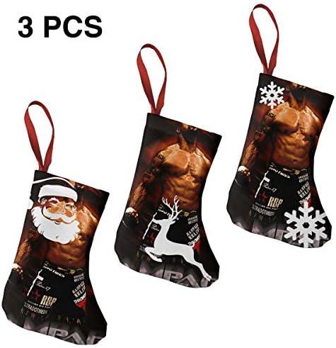 クリスマスの日の靴下 (ソックス3個)クリスマスデコレーションソックス けんかMMA Quinton Jackson クリスマス、ハロウィン 家庭用、ショッピングモール用、お祝いの雰囲気を加える 人気を高める、販売、プロモーション、年次式