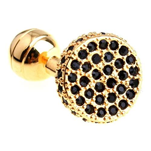 Gold Black Gems Cufflinks Crystal Wedding Gift
