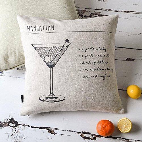 Black Manhattan Cocktail Case (Manhattan Cocktail Pattern and Letter Cotton Linen Cushion Cover Pillow Cases Decorative Pillow Shame for Sofa Restaurant Couch Decor 18