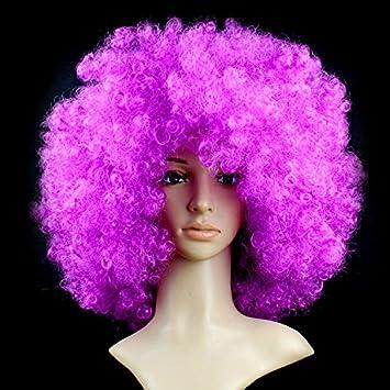 Bingirl Performance Hair Wavy Round Synthetic Clown Wig Football Fans Peluca Cosplay Hair For Hallowmas Christmas