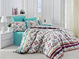 Purple and Turquoise Duvet Cover 2 Pcs Bedroom Bedding Soft Colored 65% Cotton 35% Polyester Twin and Single Bedroom Bedding Quilt Duvet Cover Set Turquoise Purple Yellow White Soft Mixed Geometric Patterns Single Bed Keysy Green Whi