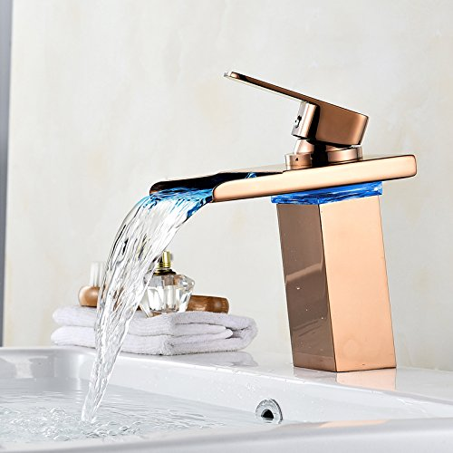Wovier LED Water Flow Rose Gold Waterfall Bathroom Sink Faucet,Color Changing,Single Handle Single Hole Vessel Lavatory Faucet,Basin Mixer (Ada Compliant Rose)