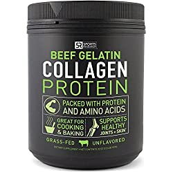 Beef Gelatin Collagen Protein from Pasture Raised, Grass-Fed Cows ~ Great for Cooking and Baking ~ Certified Paleo Friendly, Keto-diet approved and Non-GMO