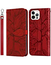 Miagon Embossing Cover for iPhone 12 Pro,Wallet PU Leather Magnetic Flip Case Tree Pattern Case Card Slots with Stand,Red