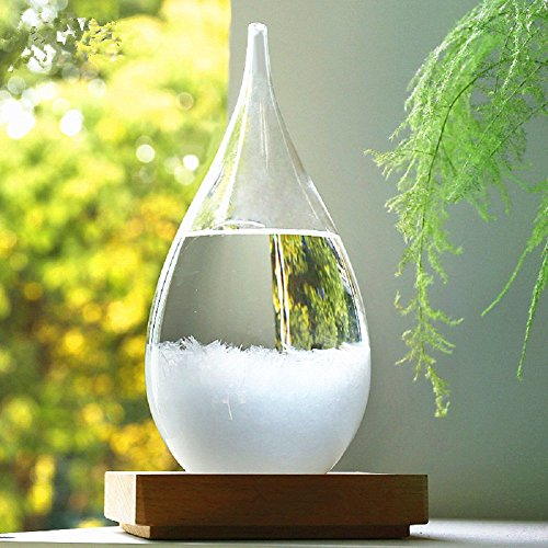 Smile Storm Glass, Mother's Day Crystal Desktop Drops Creative DIY Glass Craft Weather Predictor Bottle Forecast Storm Bottle Barometer for Home Office Decoration Half Glass Top Desk