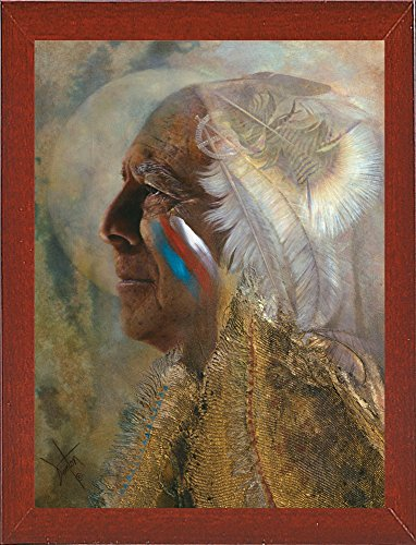 Frame USA Wicasa Wakan (the Holy Man) Framed Print 42.5''x31.5'' by Denton Lund, 42.5x31.5, Affordable Red Mahogany Medium by Frame USA