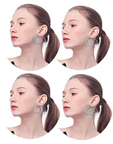 (Thunaraz 4Pairs Spiral Hoop Earrings Set Bohemian Vintage Tribal Swirl Earrings For Women Girl Silver-tone)