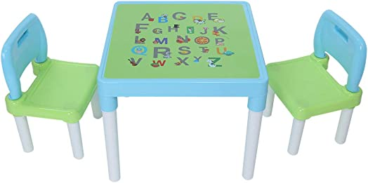 CHGK Plastic Kids Table and 2 Chairs Set