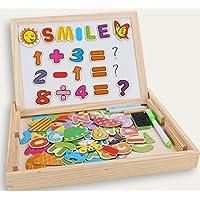 Puzzles Enfant en Bois Magnétique, Dookey Jigsaw avec Tableau Noir de Chevalet à Double Face Jouets Educatif pour Bambin Enfants Fille 3 Ans+ - Lettres et Chiffres - 100 Pièces - Puzzle Aimant peut Coller sur un Frigo