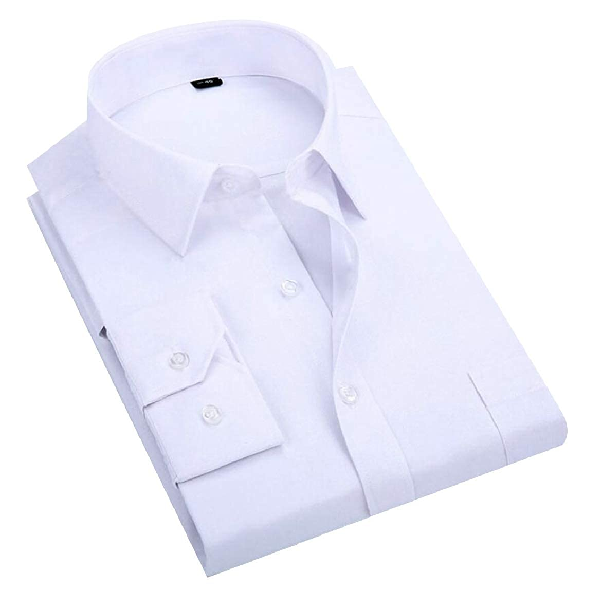 pujingge Mens Formal Solid Long Sleeve Lapel Workwear Button Down Shirts