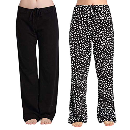 MIS1950s Women's Loose Drawstring Trouser Wide Leg Yoga Pants for Sporting Straight Pants,2PC