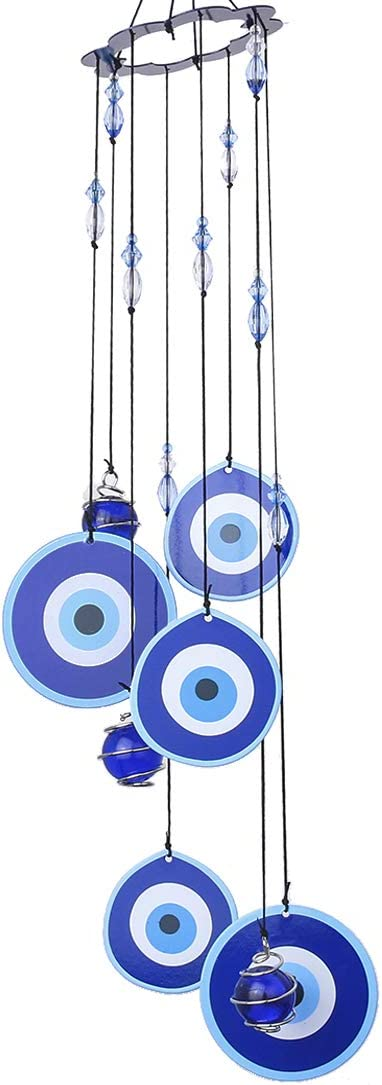 YUFENG Blue Evil Eye Hanging Decoration Ornament Metal Wind Chimes for Home Garden Decoration (Evil Eyes)