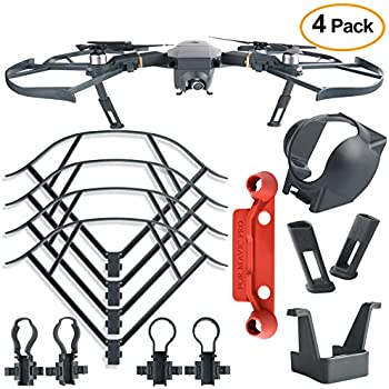 Kuuqa 4Pcs Protection Accessories Kits for DJI Mavic Pro, Including Landing Gear Extender, Lens Hood Gimbal Guard, Quick Release Propeller Prop Guard and Remote Controller Stick Thumb Protective Clip