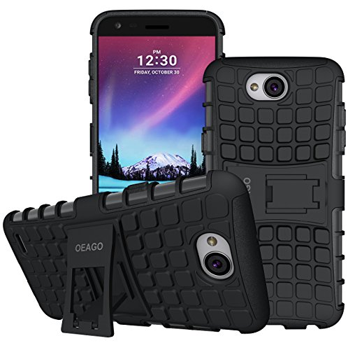 LG X Charge Case, LG Fiesta 2 LTE Phone Case, LG Fiesta LTE Case, LG X Power 2 (2017) Case, OEAGO [Shockproof] [Impact Protection] Tough Rugged Dual Layer Protective Case with Kickstand – Black