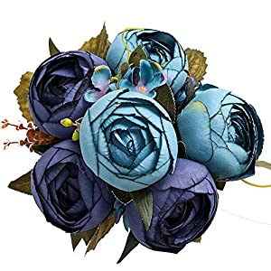 Luyue Vintage Artificial Peony Silk Peonies Fake Flowers Wedding Bouquet Home Floral Decor (Pack of 1)-Vintage Navy Blue