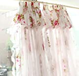 FADFAY Home Textile,Korean Lace Ruffle Curtains For Bedroom/Living Room,Romantic Floral Curtains,2Panels For Sale