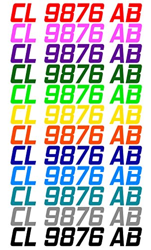 Custom Boat or PWC Registration Hull ID Decal Sticker Set of 2 Boat Registration Numbers