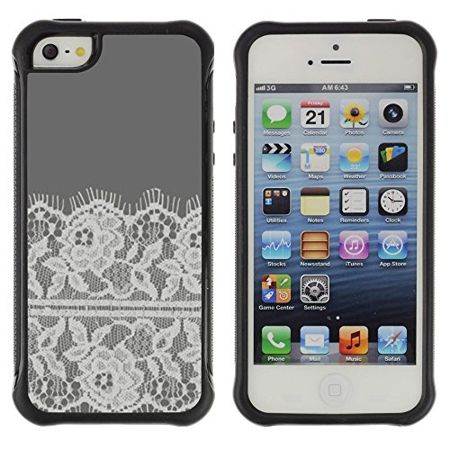 Fabrics Crocheted (Pulsar iFace Series Soft TPU Skin Bumper Case Cover for Apple iPhone SE / iPhone 5 / iPhone 5S , Flowers Crocheted Fabric Sewing)
