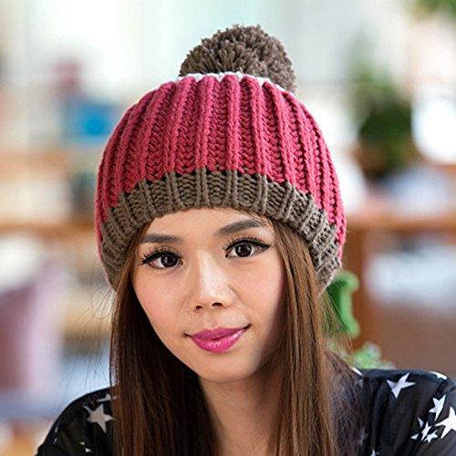 de Hecha otoño Sombrero al Libre Invierno Hairball Grande Invierno e RED Red Hebilla Plata Aire de Coreano Maozi Lana en XSOqwBf