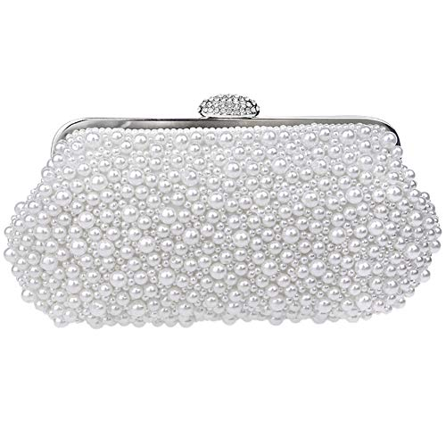 Dress For Evening Womens Chain Clutch Purse White Handbag Wedding Bags Pearls OqqTaBn