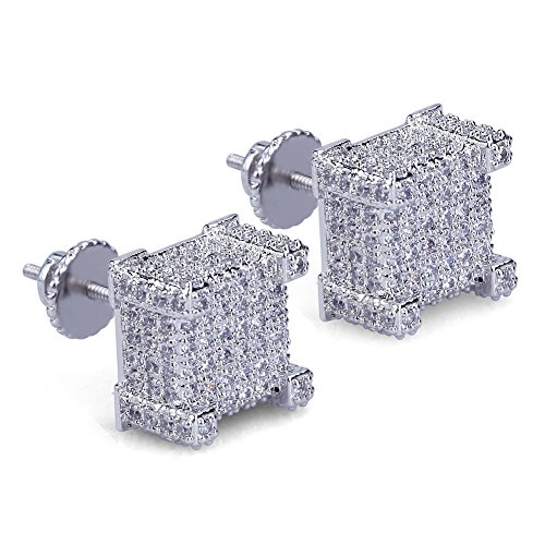 Hip Hop Iced Out Big Square Flat Screen Block Screw Back Stud Earring For Men and Women (White Gold) (Mens Earrings Jewelry)