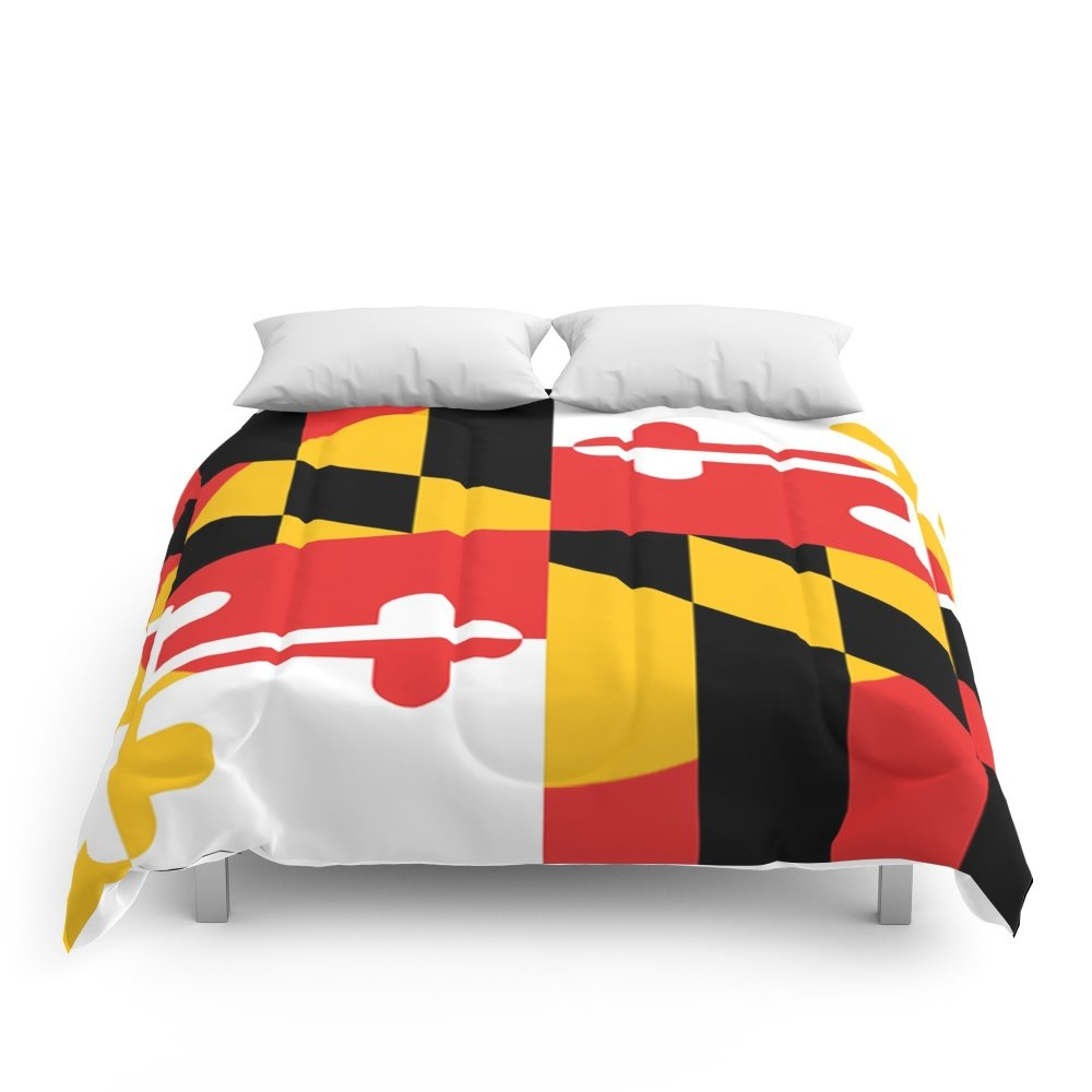 Society6 Maryland State Flag Art Print Comforters Queen: 88'' x 88'' by Society6