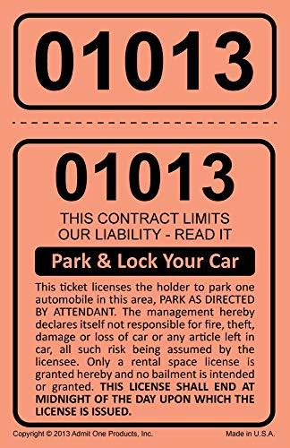 (2-Part Park & Lock Valet Tickets - 2,000 Card Stock Salmon)