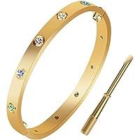 Jewelry 18 K Gold Bracelet for Love Titanium Stainless Steel Bangle Screw Bracelet with Screwdriver--Screw Bracelets for…