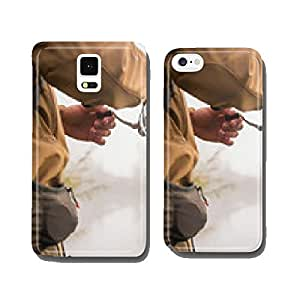 Fisherman on the river bank. Autumn fishing. cell phone cover case iPhone6 Plus