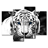 SimonfineUs Black White 4 Panel Wall Art Painting Blue Eyed Tiger Prints On Canvas Animal Pictures For Home Modern Decoration Print Decor
