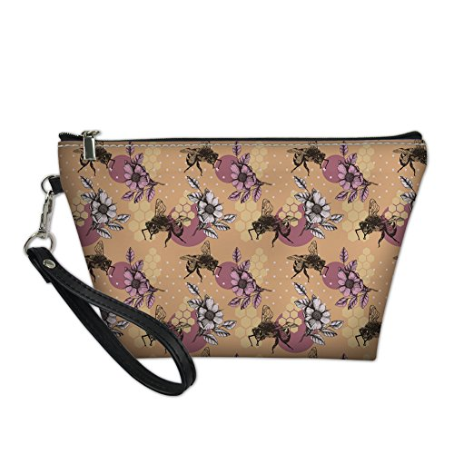HUGS IDEA Dentist Pattern PU Leather Cosmetic Bag Travel Shopping Clutch Purse Handle Toiltry Pouch Bee