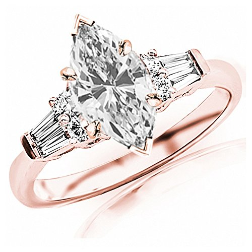 1.1 Carat t.w. GIA Certified Marquise Cut 14K Rose Gold Prong Set Round And Baguette Diamond Engagement Ring (I-J Color VS1-VS2 Clarity Center Stones)