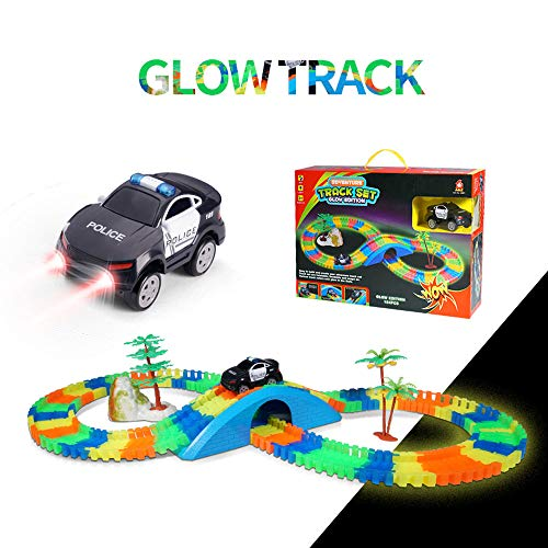 (Aole Race Tracks for Boys, Glow Race Car Track Set Toy Educational Twisted Flexible Tracks154 Pcs with Electric Police Car Rockery Tree Arch Bridge Toys for Kids(Black))