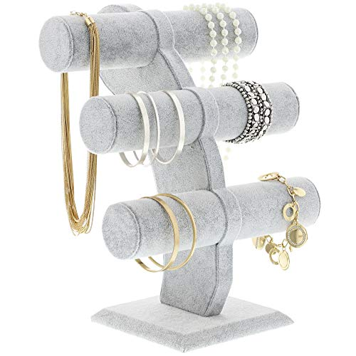 Jewelry Holder Stand - Velvet 3 Tier T-Bar Jewelry Tower Display Stand Organizer for Watches, Bracelets, Necklaces, Bangles Storage - Grey, 12 x 9.5 x 5.5 Inches