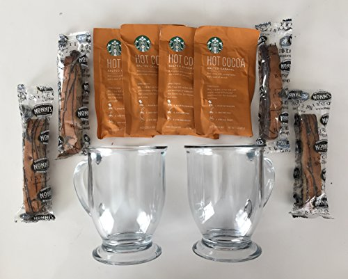 Starbucks Salted Carmel Hot Cocoa, Nonni's Biscotti, 16 oz. Clear Mug Gift Set