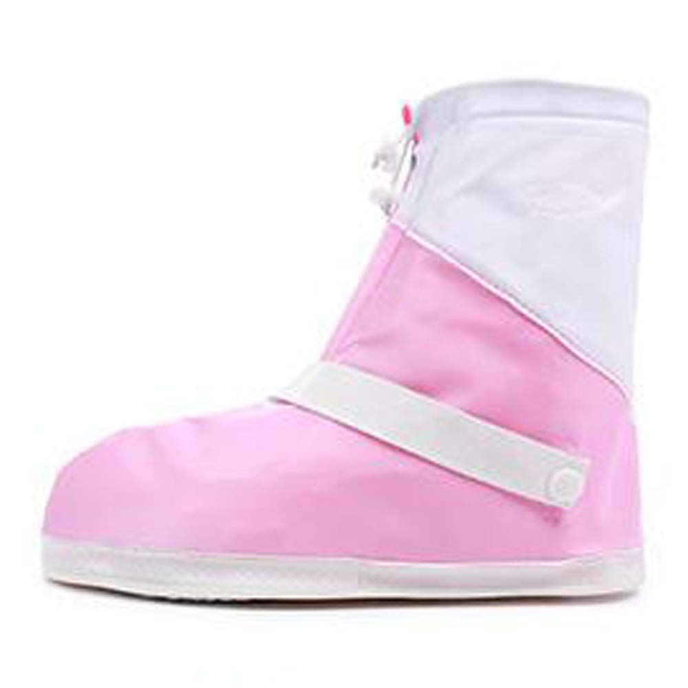 WUZHONGDIAN Shoe Cover, Waterproof Boots and Wearable Shoe Covers, Reusable Non-Slip Rain and Snow Shoe Covers Outdoor Waterproof and Dustproof Shoe Covers (Color : Pink+White, Size : M) by WUZHONGDIAN
