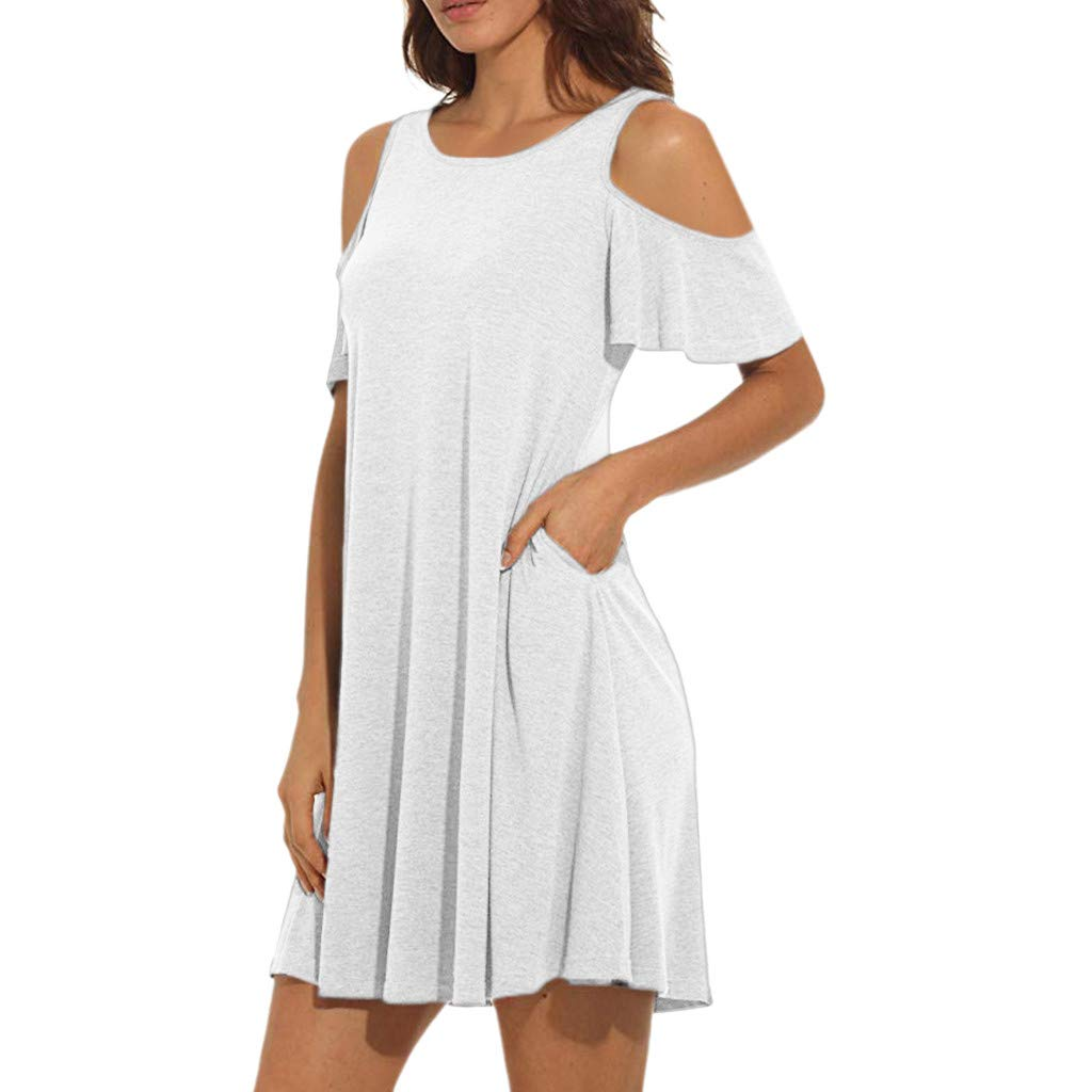 OPTIMIS Womens Summer Cold Shoulder Tunic Top Swing T-Shirt Casual Loose Dress with Pockets