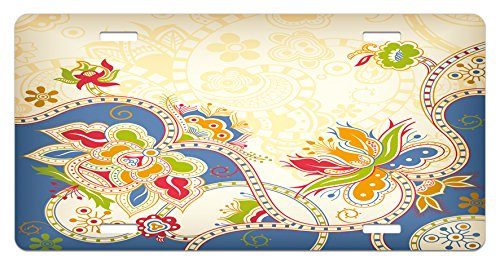 Ethnic License Plate by Lunarable, Asian Ethnic Floral Traditional Pattern with Swirls Petals Oriental Artistic Design, High Gloss Aluminum Novelty Plate, 5.88 L X 11.88 W Inches, - Petals Swirl