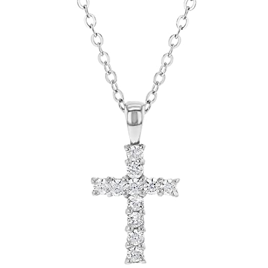 Amazon 925 sterling silver small clear cz cross necklace for 925 sterling silver small clear cz cross necklace for kids little girls 18quot mozeypictures Choice Image