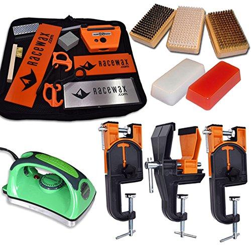 RaceWax Ski Tune Race Kit: 3 Piece Vise, Iron, 3 Brushes Tools Wax