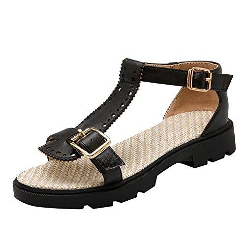 Dames Open Teen Gesp T-strap Comfort Flats Sandalen Zwart