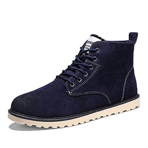 Hishoes Uomo Caldo Stivali da Neve Inverno Casuale High-top Sneakers all'aperto Antiscivolo Martin Stivali Sportive Boots Scarpe Blu