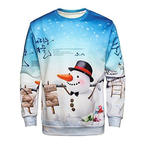 b7cda5ecc9 DressLily Christmas Ugly Santa Claus Bell House Snowman 3D Printed Pull