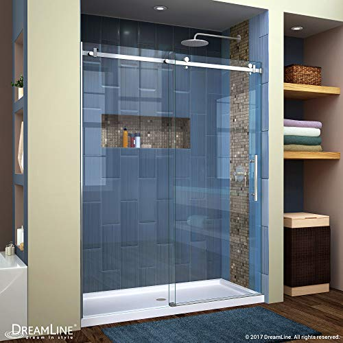 DreamLine Enigma Air 56-60 in. W x 76 in. H Frameless Sliding Shower Door in Brushed Stainless Steel, SHDR-64607610-07 (Stainless Steel U Channel For 10mm Glass)