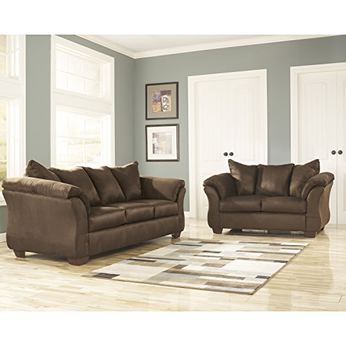 Microfiber Sectional Living Room (Signature Design by Ashley Flash Furniture Darcy Living Room Set in Cafe Microfiber)