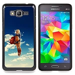 """Super Girl héroe"""" - Metal de aluminio y de plástico duro Caja del teléfono - Negro - Samsung Galaxy Grand Prime G530F G530FZ G530Y G530H G530FZ/DS"""